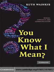 Cover of: You Know What I Mean? |
