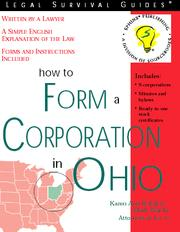Cover of: How to Form a Corporation in Ohio |