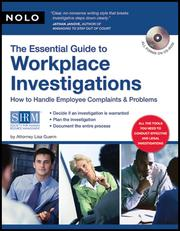 Cover of: Essential Guide to Workplace Investigations, The |