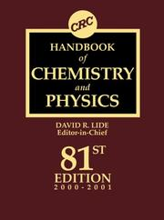 Cover of: Handbook of Chemistry and Physics, 81st Edition | David R. Lide