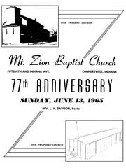 Cover of: Mt. Zion Baptist Church 77th Anniversary |