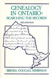 Cover of: Genealogy in Ontario