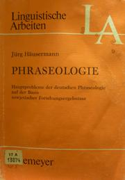 Cover of: Phraseologie