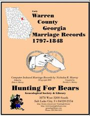 Early Warren County Georgia Marriage Records 1699-1805 by Nicholas Russell Murray