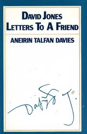 Cover of: David Jones Letters to a friend