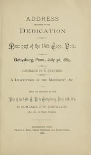 Cover of: Address delivered at the dedication of monument of the 14th Conn. vols. at Gettysburg by H. S. Stevens