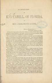 Cover of: Address of E. C. Cabell by Cabell, Edward Carrington