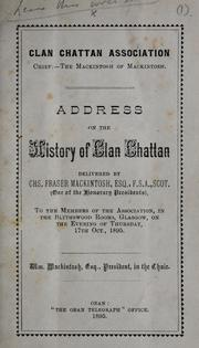 Cover of: Address on the history of Clan Chattan | Charles Fraser Mackintosh