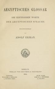 Cover of: Aegyptisches Glossar | Adolf Erman