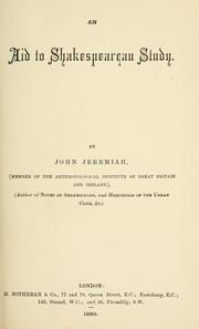 Cover of: aid to Shakespearean study. | John Jeremiah