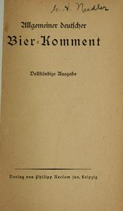Cover of: Allgemeiner deutsche Bier-Comment by