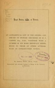 Cover of: Alphabetical list of the genera and species of sponges described by H.J. Carter, Esq. F.R.S. | Arthur Dendy