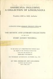 Cover of: Americana, including a collection of Lincolniana | American Art Association
