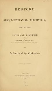 Cover of: Bedford sesqui-centennial celebration, Aug. 27, 1879. | Jonathan French Stearns