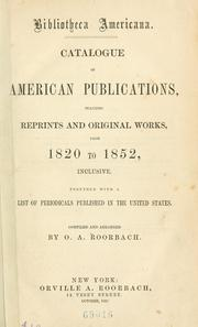 Cover of: Bibliotheca americana. | Orville A. Roorbach