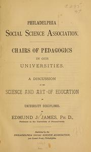 Cover of: Chairs of pedagogies in our universities | Edmund J. James