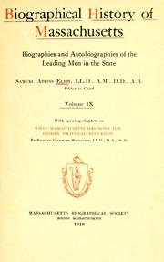 Cover of: Biographical history of Massachussetts | Eliot, Samuel Atkins
