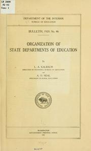 Cover of: Organization of state departments of education | Lewis Alvin Kalbach