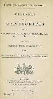 Cover of: Calendar of the manuscripts of the Most Honourable the Marquess of Salisbury ... | Great Britain. Royal Commission on Historical Manuscripts.