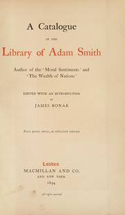 Cover of: A catalogue of the library of Adam Smith | Adam Smith