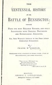 Cover of: centennial history of the battle of Bennington | Frank Warren Coburn
