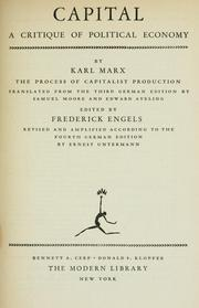Cover of: Capital (a critique of political economy) | Karl Marx
