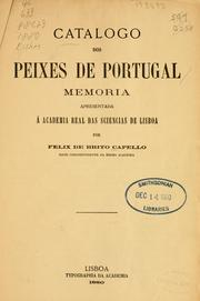 Cover of: Catalogo dos peixes de Portugal by Felix de Brito Capello