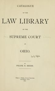 Catalogue of the law library of the Supreme Court of Ohio