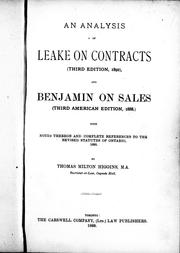 Cover of: An analysis of Leake on contracts (third edition, 1892), and Benjamin on sales |