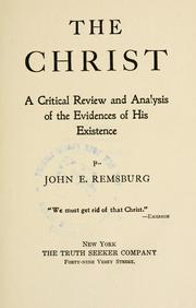 Cover of: The Christ | John Eleazer Remsburg