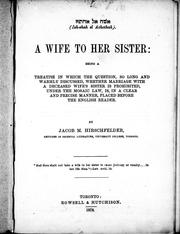 A wife to her sister by Jacob M. Hirschfelder