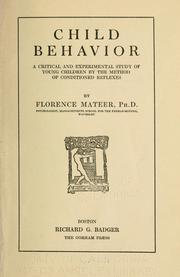 Cover of: Child behavior | Florence Mateer