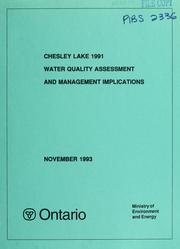 Cover of: Chesley Lake 1991 water quality assessement and management implications | Andy F. Gemza
