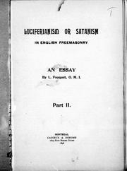 Cover of: Luciferianism or Satanism in English freemasonry, an essay by L. Fouquet