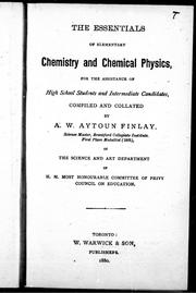 Cover of: The essentials of elementary chemistry and chemical physics |