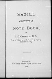 Cover of: McGill obstetric note book | J. C. Cameron