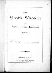 Cover of: Was Moses wrong? |