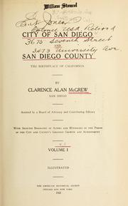 Cover of: City of San Diego and San Diego County by Clarence Alan McGrew