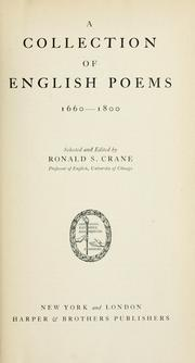 Cover of: A collection of English poems, 1660-1800 | Ronald S. Crane