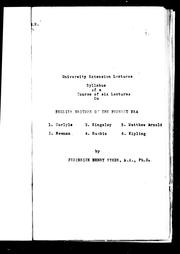 Syllabus of a course of six lectures on English writers of the present era by Frederick Henry Sykes