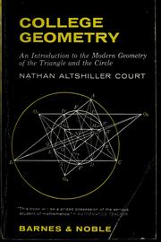Cover of: College geometry | Nathan Altshiller-Court