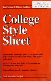 Cover of: College style sheet | Jon Furberg