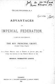 Cover of: Advantages of imperial federation |