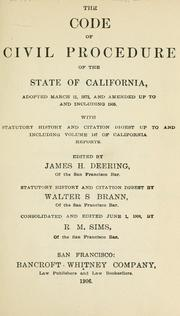 Cover of: Code of Civil Procedure of the state of California | California.