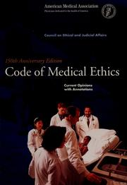 Cover of: Code of medical ethics | American Medical Association. Council on Ethical and Judicial Affairs.