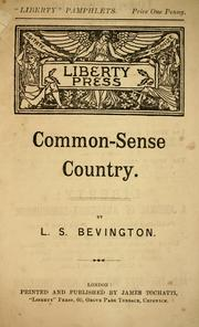 Cover of: Common-sense Country | L. S. Bevington