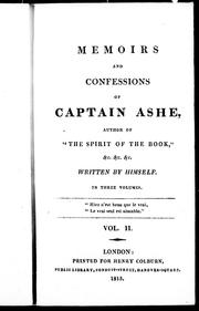 Cover of: Memoirs and confessions of Captain Ashe |
