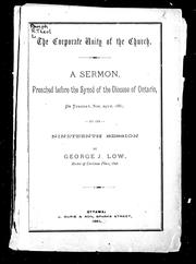 Cover of: The corporate unity of the church by G. J. Low