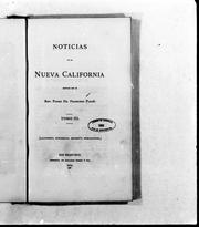 Noticias de la Nueva California by Francisco Palóu
