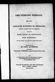 Cover of: The Stirling peerage |